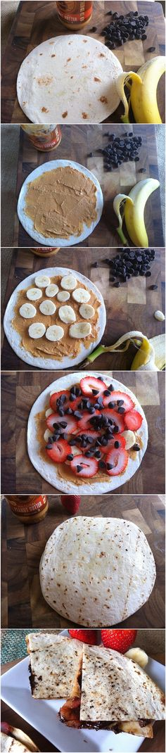 Dessert Quesadillas with fruit and peanut butter.  Easy and delicious and perfect for the kiddos!