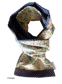 Foulard liberty adelajda orange et gris : Echarpe, foulard, cravate par crocmyys