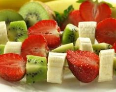 Fruit kebabs are the perfect way to take your fruit on-the-go! It's as simple as washing the fruit, sliding it on the skewer, and eating. With minimal effort, this nutritious treat makes eating healthy easier than ever. Fruit Kebabs, Fruit Salad, Healthy Desserts, Healthy Recipes, Healthy Meals, Clean Eating, Healthy Eating, Diabetic Living, Light Recipes