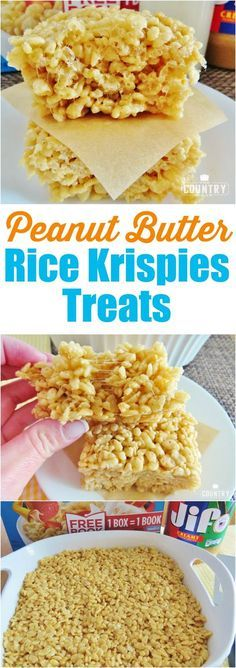 Peanut Butter Rice Krispies Treats recipe from The Country Cook. This recipe is … Peanut Butter Rice Krispies Treats recipe from The Country Cook. This recipe is THE BEST recipe for Rice Krispies Treats. Perfect amount of creaminess and crunchiness! Rice Krispy Treats Recipe, Rice Crispy Treats, Krispie Treats, Just Desserts, Delicious Desserts, Dessert Recipes, Brownie Desserts, Popcorn Recipes, Fudge Recipes