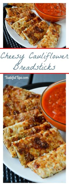 The best Cheesy Cauliflower Breadsticks! Completely gluten free! Awesome way to hide cauliflower from the picky eaters!