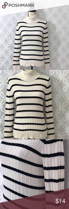 "American Living Striped Turtleneck Sweater American Living Striped Turtleneck Sweater - Good Condition, See Pictures!    Measurements Laying Flat Size 🔹  L Armpit to Armpit 🔹19"" Shoulder to Bottom🔹23"" Bundle to Save 🤓 Sorry NO outside transactions 🚫 Reasonable Offers welcomed 👍 NO Low balling 👎 NO modeling 👎 All items from a pet 😼and Smoke Free Home  Happy Poshing 🤗 American Living Sweaters Cowl & Turtlenecks"