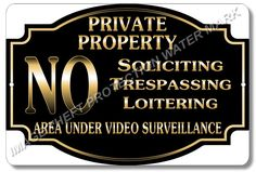 "Private Property No Soliciting No Trespassing Video Surveillance Sign 8""x12"" New…"