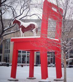 Frozen Pony outside the Denver Library