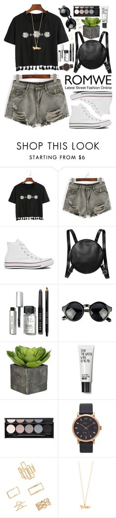 """Romwe"" by oshint ❤ liked on Polyvore featuring Converse, Monki, Bobbi Brown Cosmetics, Witchery, Marc Jacobs, Forever 21 and Alex Monroe"