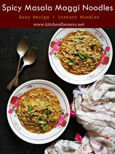 Spicy Masala Maggi Noodles are isntant noodle recipe which is easy, yummy and can be made  anytime of the day to pamper your taste buds. via @lubnakarim