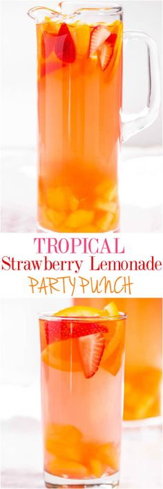 The BEST Easy Non-Alcoholic Drinks Recipes – Creative Mocktails and Family Friendly, Alcohol-Free, Big Batch Party Beverages for a Crowd! - Tropical Strawberry Lemonade Party Punch Recipe via Averie Cooks – Sweet and citrusy with a tropi - Party Drinks Alcohol, Fruit Drinks, Drinks Alcohol Recipes, Smoothie Drinks, Non Alcoholic Drinks, Drink Recipes, Sangria Recipes, Tropical Punch Recipe Non Alcoholic, Cake Recipes
