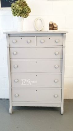 This free chest of drawers gets a new lease on life with a few repairs and some paint. Using a paint sprayer makes this a quick and easy furniture flip! #MyRepurposedLife #furniture #makeover #dresser #diy #paintsprayer #easy #project #furnitureflip