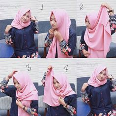 Tutorial Hijab 4 - Langkah praktis cara memakai jilbab simple yang dilengkapi dengan gambar yang mudah dipahami.