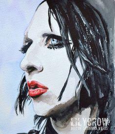 The Vampire - Marilyn Manson by Susanna Varis water color 2008
