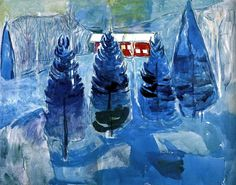 Edvard Munch, Red House and Spruces, 1927