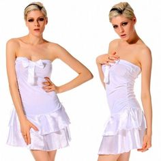 New Fashion Sexy Womens Bow Strapless Backless Boat Neck Slim A-line Club Party Cocktail Dress White