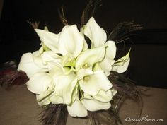 All White Calla Lilies with Feathers Bridal Bouquet