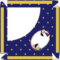 Caixa Bombom Personalizados Show da Luna Azul e Vermelho - Parte de cima
