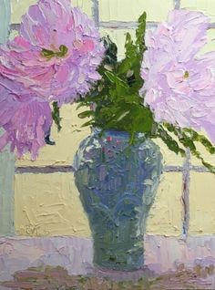 Peonies In Asian Pottery, painting by artist Roxanne Steed