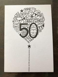 41 años - Cards - Home Baran Birthday Card Drawing, Cool Birthday Cards, Bday Cards, Handmade Birthday Cards, Diy Birthday, Graduation Cards, Doodle Lettering, Hand Lettering, Calligraphy Cards