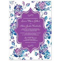 Purple and blue Wedding Invitations Teal Royal Blue and Purple