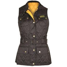 Barbour Women's Blackwater Black & Gold Quilted Gilet Jacket ($96) ❤ liked on Polyvore