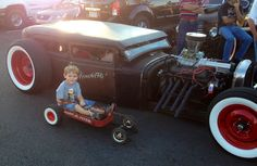 My sons rat rod radio flyer next to the real deal Custom Radio Flyer Wagon, Radio Flyer Wagons, Rat, Antique Cars, Sons, Trucks, Metal, Vintage Cars, Truck