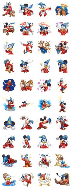Line Sticker for D23 Sorcerer Mickey & Friends Free Download on iPhone, Android, Windows Phone, PC and other devices.