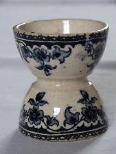 Ancien COQUETIER de collection faïence coquille d'oeuf décor floral bleu-marine