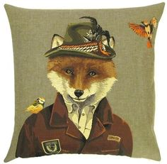 This whimsical tapestry pillow cover is one of a set of three cushions featuring forest animalsdressed as forest rangers. It is woven on a jacquard loom in true traditional tapestry design – a craft that only a few master! The cushion cover is woven with 100% cotton thread and