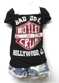 2 in 1 style Motley Crue Customized Tops for Girly Women Handmade by Julia Takai #Handmade #Babydoll #Concert