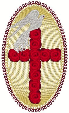 Red Rose Cross & Dove Embroidery Design.