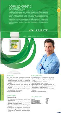 Complejo Omega 3  Amway Nutrilite, El Complejo Omega 3 de NUTRILITETM ofrece una fórmula exclusiva con ácidos grasos poliinsaturados provenientes del omega-3, de origen natural y sin el sabor a pescado. Combina EPA y DHA (de aceites de pescado) con ALA (obtenido del aceite de semilla de linaza). Además contiene Vitamina E. www.naturalesnokua.com.co