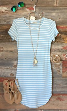 On the Horizon Tunic Dress: Ice Blue from privityboutique - striped dress summer outfits summer dress outfit blue summer dress outfit blue summer dress outfit outfits baby blue dress - blue dress outfit - Summer Blue Dresses 2019 Mode Outfits, Casual Outfits, Fashion Outfits, Fashion Clothes, Womens Fashion, Fashion Ideas, Fashion Guide, Dress Fashion, Dress Outfits