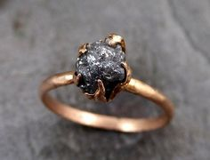 Raw Diamond Solitaire Engagement Ring Rough Uncut gemstone Rose gold Conflict Free Gray Diamond Wedding Promise
