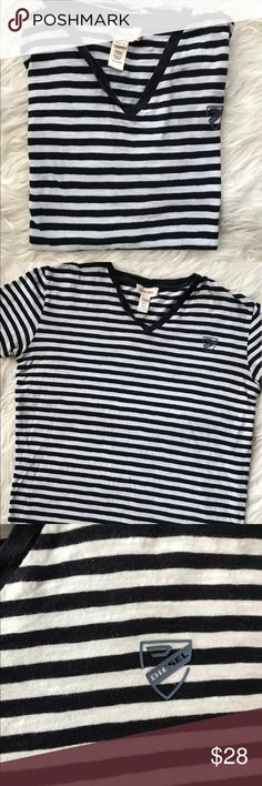 Women's Diesel Blue & White Stripe Casual Shirt Such a nice shirt to have. Casual white & blue stripe Diesel shirt Vneck 100% Cotton Gently used, great condition no stains or tears  Please see measurements.   Measurements laying flat:  Armpit to armpit: 19 inches  Armpit to bottom hem: 16 inches   ❌No trading 🌺Offers Welcome 🎈Bundle Discount  ✈️Ship same day  ⭐️Top 10% Seller 💫Suggested User Diesel Tops