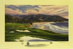 Classic image of the 9th Hole at Pebble Beach Golf Links in Pebble Beach, California.