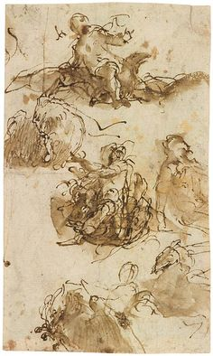 Paolo Veronese (1528–1588) Studies of Jupiter Astride the Eagle, 1557 Pen and brown ink, brown wash