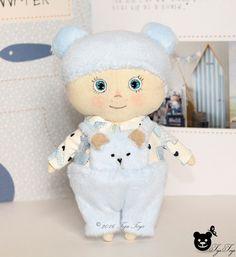 Fabric Doll. Rag doll. Sweetheart doll. Interior doll. Handmade doll. Stuffed toy. Nursery decor. Teddy bear. Baby boy. Ready to ship.