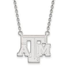 Sterling Silver LogoArt Texas A&M University Large Pendant w/Necklace
