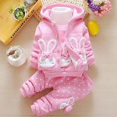 #AdoreWe #Popreal - #Popreal Thickened Bowknot Decorated Bunny Pattern Polka Dots Hooded Set - AdoreWe.com