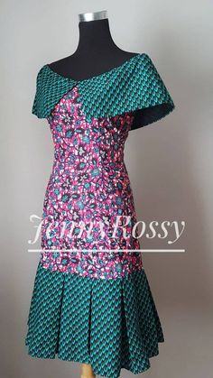 Ready to ship _ Ankara off the shoulder Cape dress /African clothing Midi dress/African gown /African women clothing Latest African Fashion Dresses, African Dresses For Women, African Print Dresses, African Print Fashion, African Attire, African Women, Tutu Rock, African Traditional Dresses, Ankara Dress