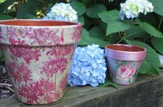 Clay pots are great to decoupage! But not so great outside-unless you weatherproof them! I'll show you how. Here is the link to my website if you're looking ...