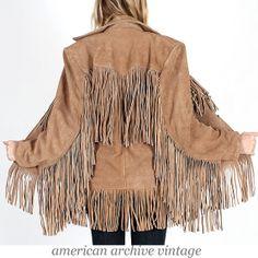 Vintage 70s Tan SUEDE Leather FRINGE coat di americanarchive, $198.00