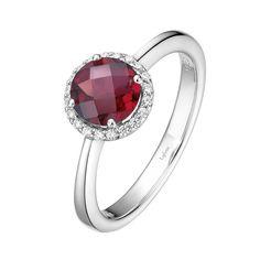 Lafonn Garnet and Simulated Diamond Halo Birthstone Ring