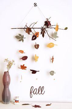 DIY Fall leaves hanging mobile.