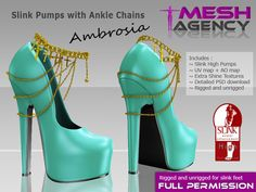 """Second Life Marketplace - Slink High Pumps + Anlke Chains """"Ambrosia"""" - FULL PERM"""