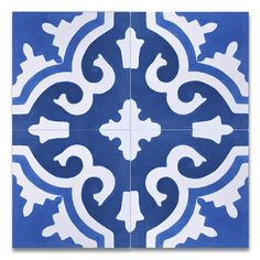 "Found it at Wayfair - Tanger 8"" x 8"" Handmade Cement Tile in Blue and White"