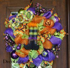 Halloween WITCH'S BOOTS Wreath by decoglitz on Etsy