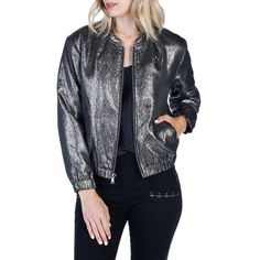 Women's Rosie Hw X Paige Kimi Bomber Jacket (430 CAD) ❤ liked on Polyvore featuring outerwear, jackets, grey metallic, leopard bomber jacket, mini jacket, blouson jacket, gray jacket and woven bomber jacket
