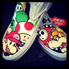 Custom Painted Vans Shoes - Mario And Friends Good vs Bad Custom Painted Shoes, Painted Vans, Painted Canvas Shoes, Hand Painted Shoes, Custom Vans, Custom Shoes, Custom Converse, Painted Sneakers, Vans Customisées