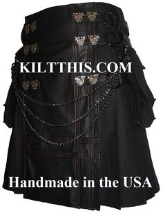 Black Canvas Kilt Black Leather Apron Double Cross Design Dragon Conchos - Handcraftes in the USA by Kilt This! Www.kiltthis.com