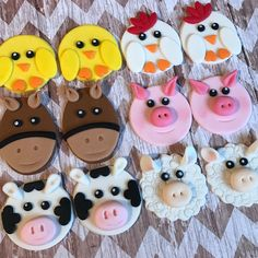 12 toppers cupcake animales corral de fondant