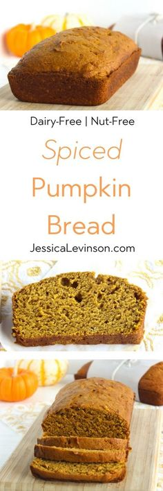 Get the essence of fall when you bite into this healthier spiced pumpkin bread, scented with cloves, cinnamon, nutmeg, and ginger. Get the dairy-free, nut-free recipe @jlevinsonrd.